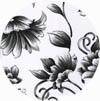 Amostra de Corvin Floral Branco Preto - Banquetas Kalossi