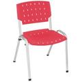 Cadeira Sigma empilhável cinza polipropileno vermelho