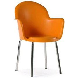 Cadeira Gogo braço 4pés cromada polipropileno laranja