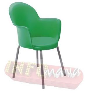 Cadeira Gogo braço 4 pés epóxi cinza polipropileno verde
