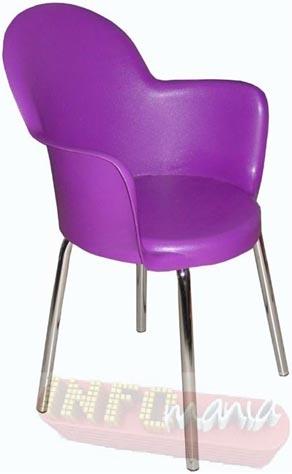 Cadeira Gogo com braços púrpura cromada