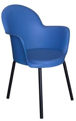 Cadeira Gogo braço 4pés epóxi preto polipropileno azul
