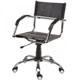 Cadeira de Couro para Escrit�rio Natural Secret�ria Girat�ria Cromada Bra�o Curvo SU1206CVO
