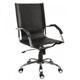 Cadeira de couro para escritório Presidente             giratória cromada braço curvo SU1338CVO