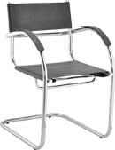Cadeira aproximação couro natural com             braço Ideale