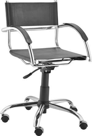 Cadeira secretária giratória couro             natural com braço Ideale