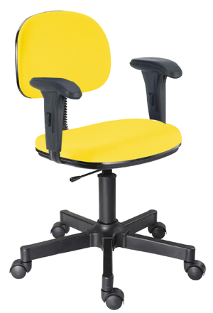 Cadeira amarela secretária giratória digitador