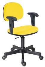 Cadeira amarela secretária giratória com braços