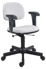 Cadeira branca secretária giratória com braços