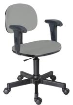 Cadeira cinza secretária                         giratória com braços