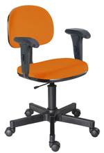 Cadeira laranja secretária giratória com braços