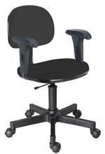 Cadeira preta secretária giratória com braços