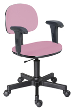 Cadeira rosa bebê secretária giratória com braços