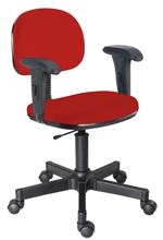 Cadeira vermelha secretária giratória com braços