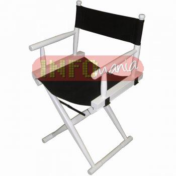 Cadeira diretor laca branca lona preta