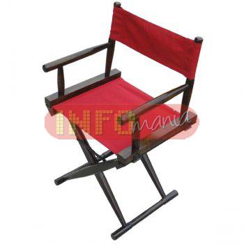 Cadeira diretor de cinema tabaco lona vermelha