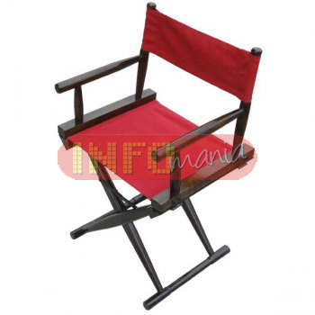 Cadeira Hollywood clássica tabaco lona                         vermelha