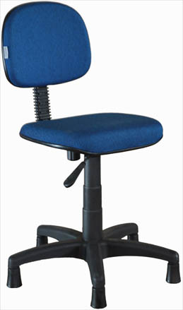 Cadeira para costureira tecido azul base nylon