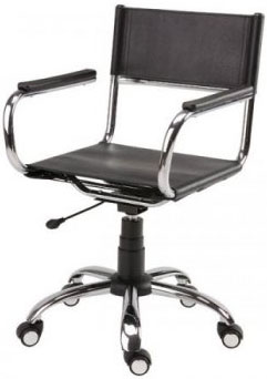 Cadeira             couro natural Supreme giratória braço aberto cromada             SU1206ABE