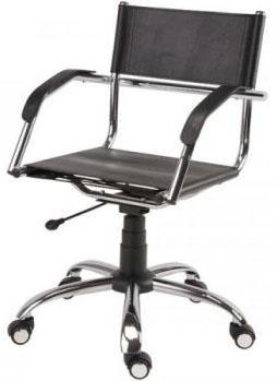 Cadeira             couro natural Supreme giratória braço curvo cromada             SU1206CVO