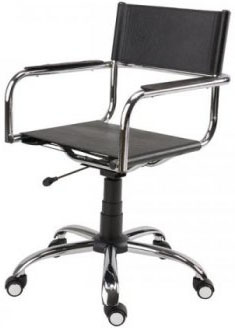 Cadeira couro natural Supreme girat�ria bra�o reto cromada SU1206RTO