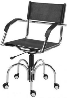 Cadeira couro natural Supreme giratória braço reto cromada SU1206RTO