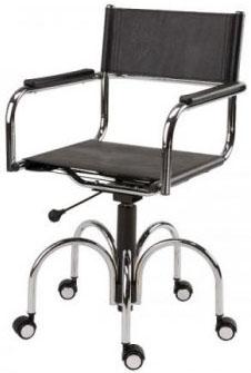 Cadeira couro natural Supreme giratória braço reto cromada SU1033RTO