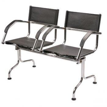 Cadeira couro natural Supreme longarina 2 lugares bra�o curvo SU0085CVO