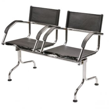Cadeira couro             natural Supreme longarina 2 lugares braço curvo             SU0085CVO