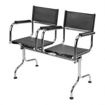 Cadeira couro natural Supreme longarina 2 lugares braço reto SU0085RTO