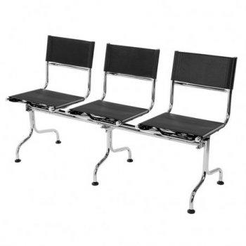Cadeira couro natural Supreme longarina 3 lugares SU0142
