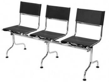 Cadeira couro natural Supreme longarina 3 lugares             sem braço