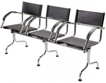 Cadeira couro natural Supreme longarina 3 lugares             braço curvo SU0142CVO