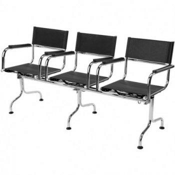 Cadeira couro natural Supreme longarina 3 lugares braço reto SU0142RTO