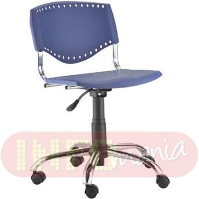 Cadeira Evidence giratória cromada assento azul
