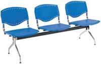 Cadeira Evidence longarina cromada Slim polipropileno azul