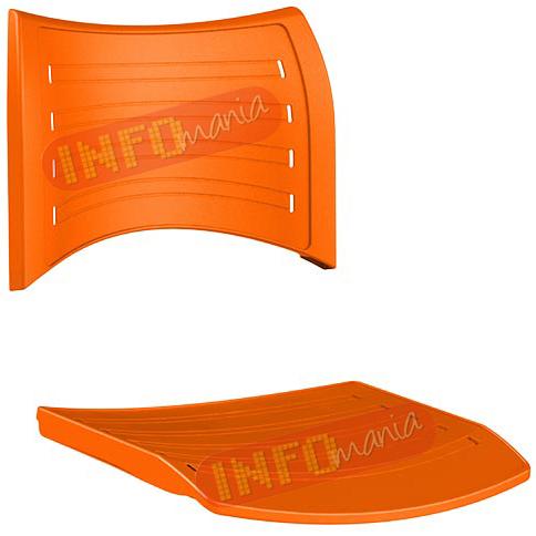 conjunto assento               encosto iso em polipropileno laranja