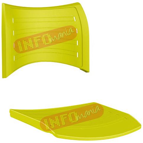 conjunto assento               encosto iso em polipropileno amarelo limão