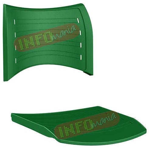 conjunto assento               encosto iso em polipropileno verde bandeira