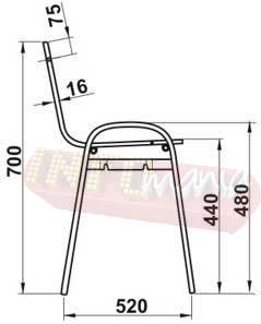 Desenho cadeira ISO ligação lateral