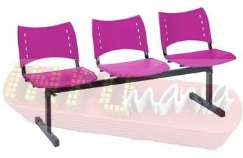 Longarina ISO 3 lugares polipropileno pink