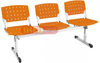 Longarina plásticas propileno 3 lugares ergo laranja