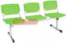 Bancos longarina cromadas Ergo                         polipropileno verde translúcido