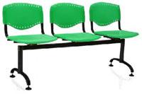 Cadeiras Evidence longarina             tubular epoxi preto ou cinza