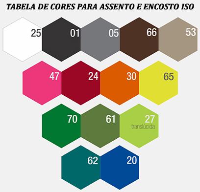 Tabela de cores para assento e encosto ISO